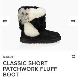 Black glitter fluff fur UGGpure boots 👢